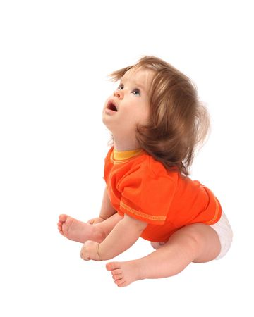 amamantando: Un ni�o se encuentra en una camisa de color naranja deporte. Ella se sorprende.