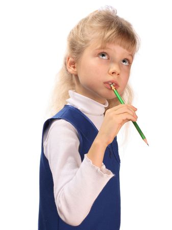 Schoolgirl in dark blue clothes with a pencil. Stock Photo - 2453556
