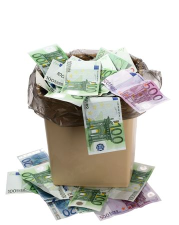 bucket of money: A lot of euros is in an olive trash bucket. Stock Photo