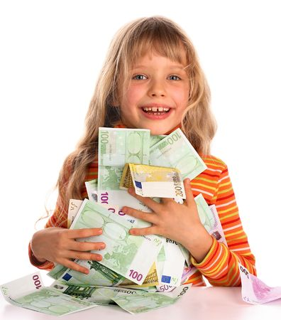 Girl taking euro. Stock Photo - 2571002