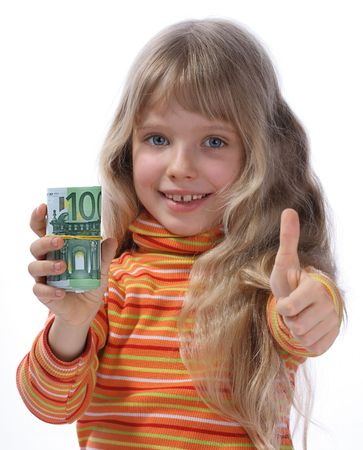 A merry girl holds a money. Stock Photo - 2513726