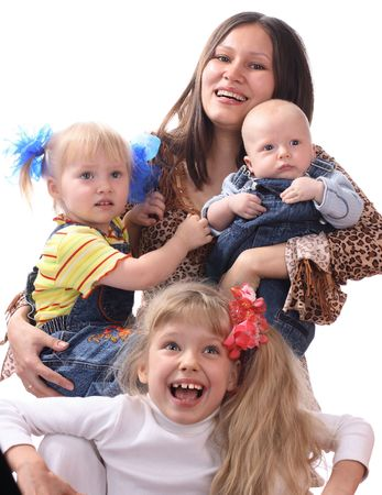Happy quiverful. Three sisters and mother. Stock Photo - 2731505