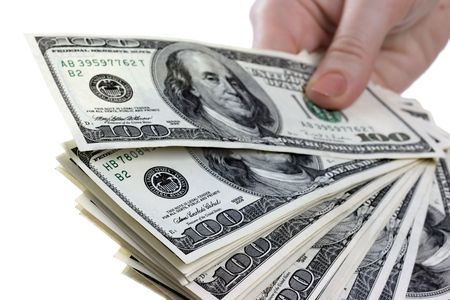 womanish: Dollars notes are in womanish hands