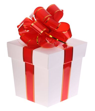 Gift box and red bow. photo