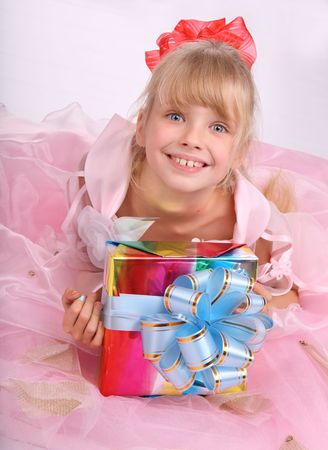 Girl with gift box. photo