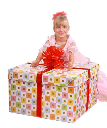 Girl and big gift box. Stock Photo - 3831671