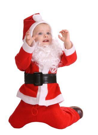 Girl in costume of santa claus. photo