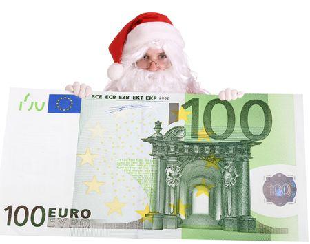 Santa Claus and big euro. photo