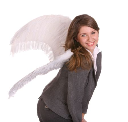 Business woman with angel wing. Concept. Stock Photo - 3941993
