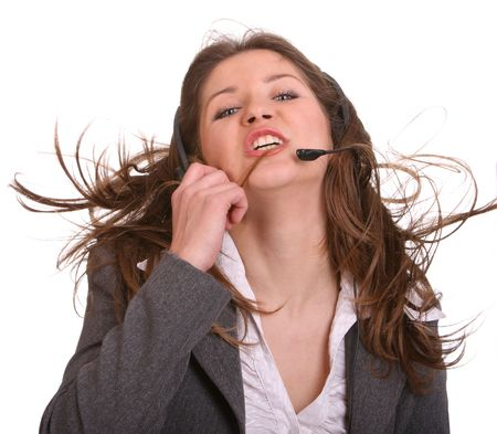 Woman wearing headset in suit. Isolated. Stock Photo - 3941994
