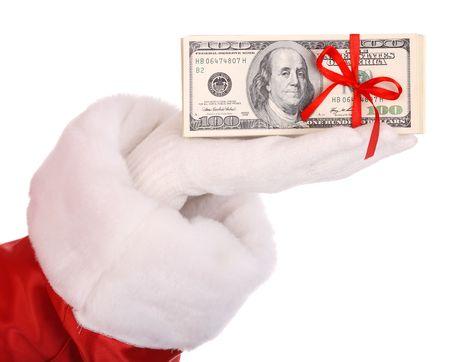 christmas costume: Money in hand of santa claus.