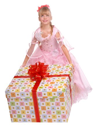 Girl whith big box. photo