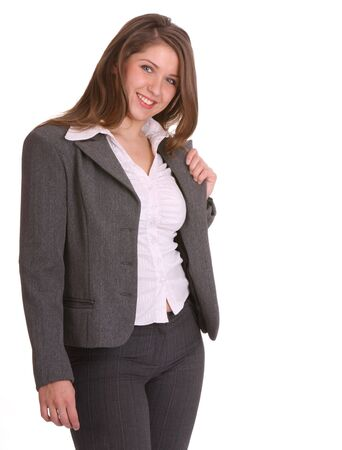 buisness: Smiling buisness woman in suit. Isolated.