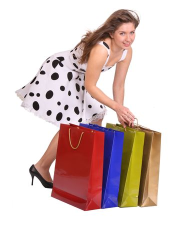 Young girl with gift bag. Isolated. Stock Photo - 3956951