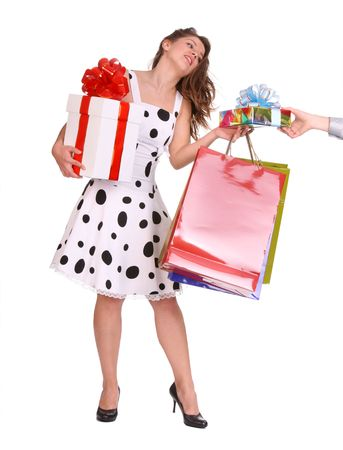 Young girl with gift bag and gift box. Isolated. Stock Photo - 3956950