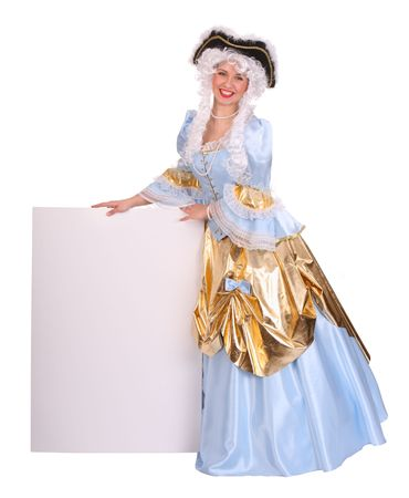 Woman in costume marquise and wig with empty card Stock Photo - 3929563