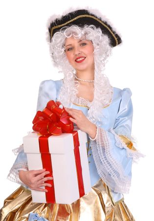 Woman in ancient dress of marquise with gift box. photo