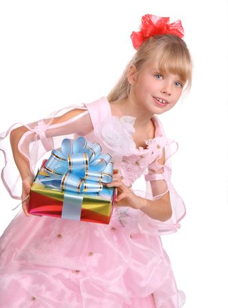 The girl in costume of angel with gift box and blue bow.  Isolated. Stock Photo - 4002858