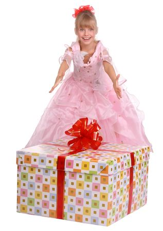 Girl whith gift big box. Isolated. photo