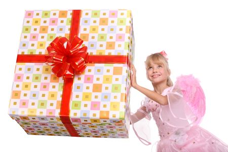 Angel with pink wings and  gift box decorate red bow. Isolated. Stock Photo - 4002900