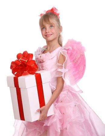 Angel con alas de color rosa y blanco, caja de regalo decorar arco rojo. Foto de archivo - 4002890