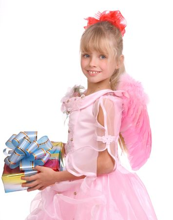 The girl in costume of angel with gift box and blue bow.  Isolated. Stock Photo - 4002887