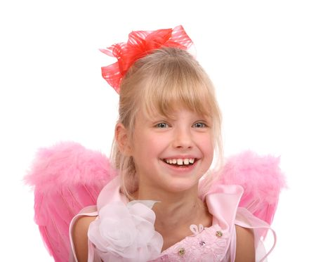 The smiling girl in costume of angel. Stock Photo - 8305100