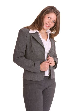 buisness woman: Smiling buisness woman in suit. Isolated.