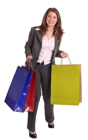 Laughing business woman with gift bag.  Isolated. Stock Photo - 4002861