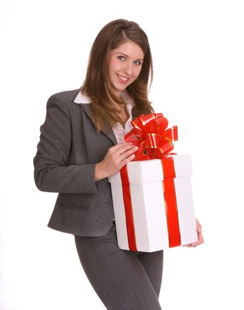 Smile business woman with gift box. Isolated. Stock Photo - 4002871