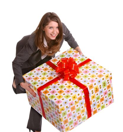 Smile business woman with big gift box. Isolated. photo