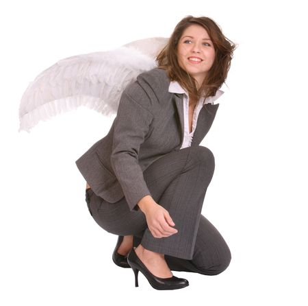Business woman with angel wing. Concept. photo