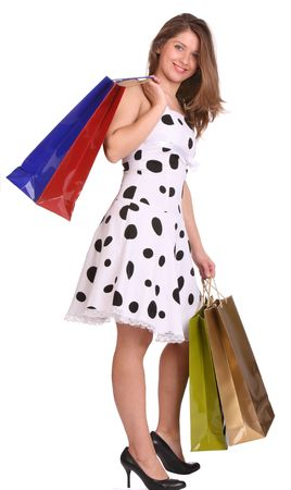 Young girl with gift bag. Isolated. Stock Photo - 4002868