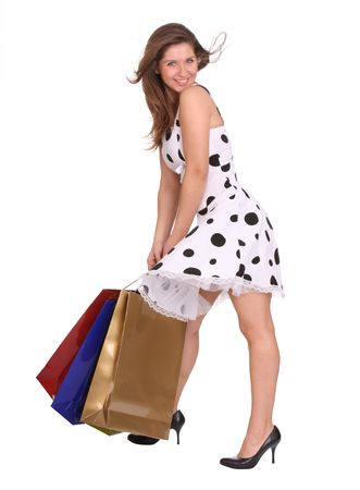 Young girl with gift bag. Isolated. Stock Photo - 4002864