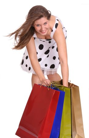 Young girl with gift bag. Isolated. Stock Photo - 4002896