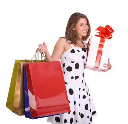 Young girl with gift bag and gift box. Isolated. Stock Photo - 4002869