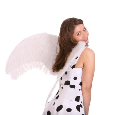 Pretty woman in costume of angel.  Isolated. Stock Photo - 4002852