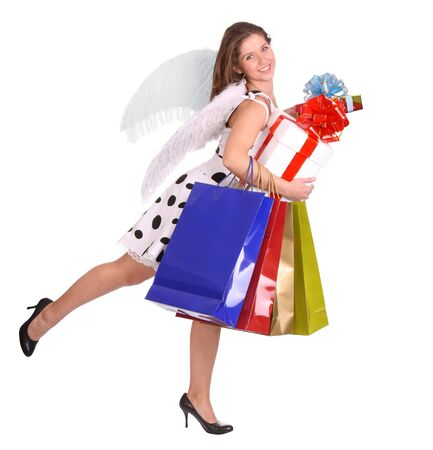 Angel with gift bag and box.  Isolated. photo