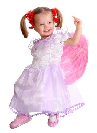 The girl in costume of angel. Isolated. Stock Photo - 4002891
