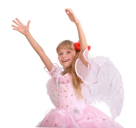 The smiling girl in costume of angel. Isolated. Stock Photo - 4002856
