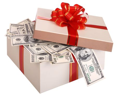 money box: Gift box with banknote of dollar.  Isolated.