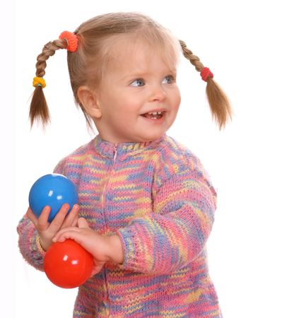 Birthday of smiling girl with colored ball. photo
