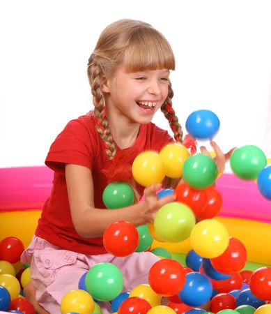 inflatable: Birthday smiling girl in sport shirt with game ball.  Isolated. Stock Photo
