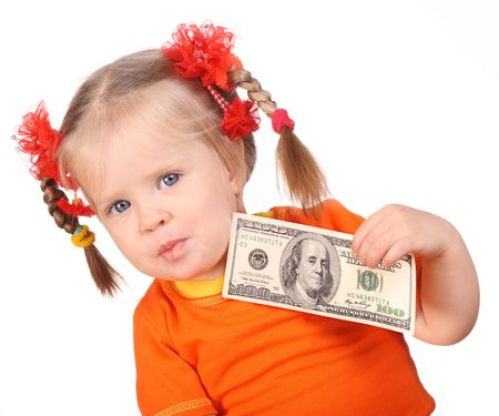 Baby with money in hand. Isolated. photo