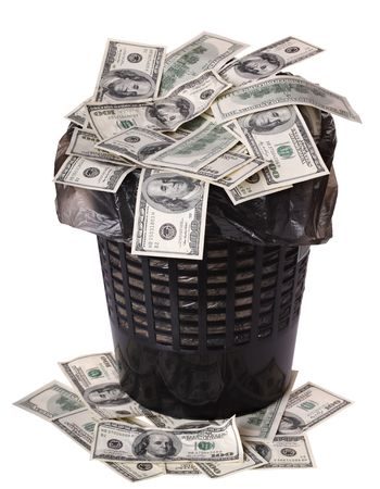 bucket of money: A money is in a trash bucket. Isolated Stock Photo