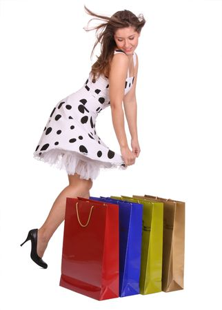 Young girl with gift bag. Isolated. Stock Photo - 4162012