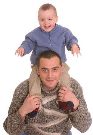 Father and son. Happy family. Isolated. photo