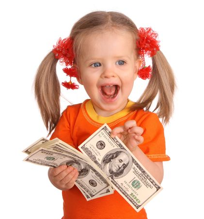 Baby girl with dollar banknote. Isolated. photo