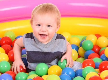 9 ball: Birthday of fun boy in color balls.