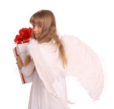 Girl in angel costume with book. White  background. Stock Photo - 4309022